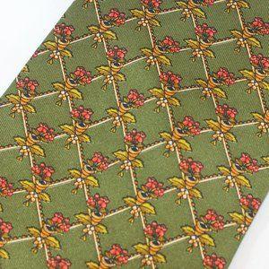 Ferragamo Tie Green w Red Begonia Floral Foulard